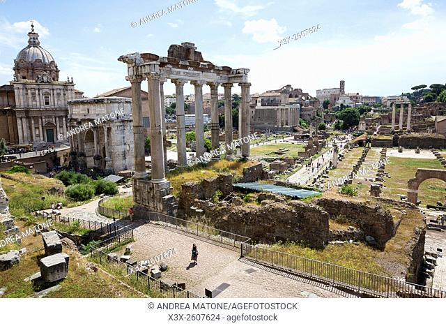 roman, forum, landmark, attraction, overview, view, above, panoramic, Italian, visiting, site, touristic, sightseeing, visit