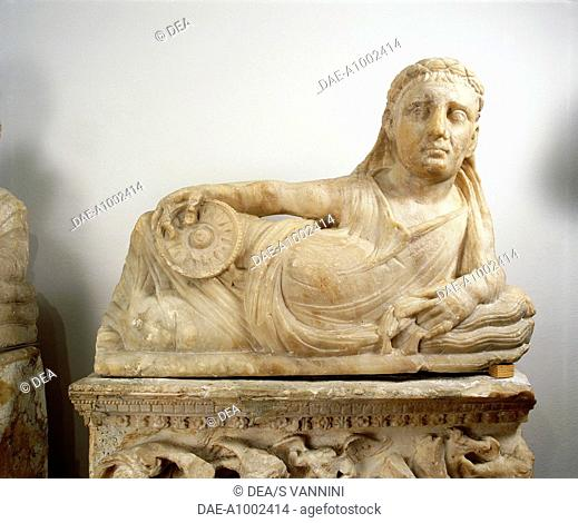 Lid of alabaster urn, from the region of Volterra (Tuscany). Etruscan Civilization, 2nd-1st Century BC.  Fiesole, Archaeological Museum