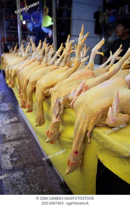 Chickens for sale at the market place in town center, San Cristobal de las Casas, Chiapas State, Mexico, North America