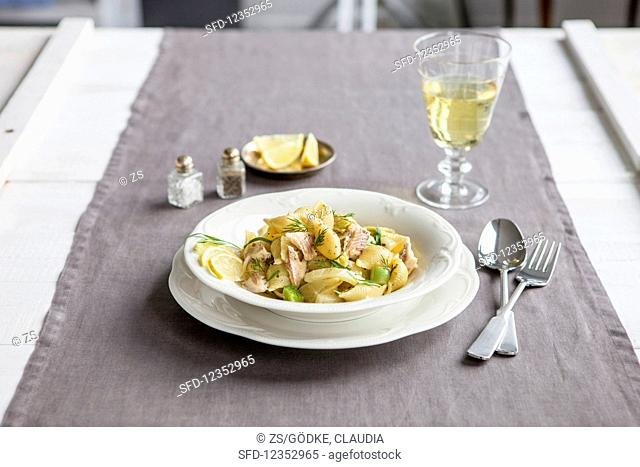 Pasta shells with tarragon and fennel served with trout in anise sauce