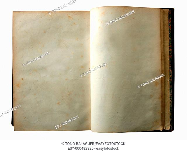 Aged old open blank copy space book isolated on white