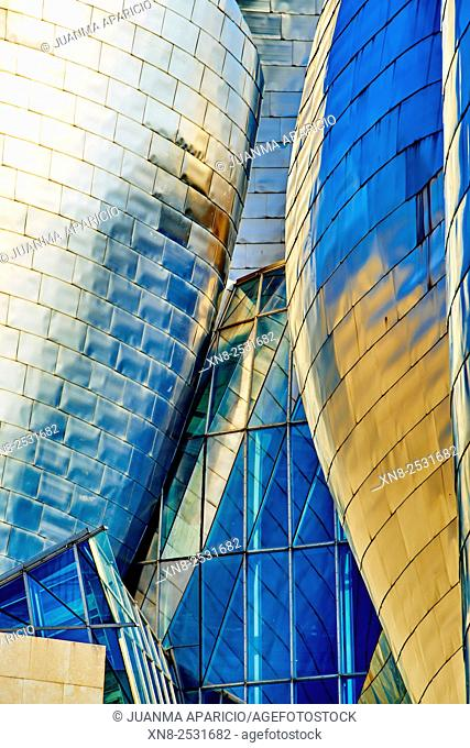 Detail of Guggenheim Museum, Bilbao, Biscay, Basque Country, Euskadi, Spain, Europe