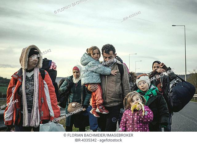Idomeni refugee camp on the Greece Macedonia border, Syrian refugees arriving, Idomeni, Central Macedonia, Greece