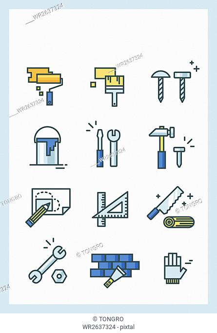 Various line icons of construction tools
