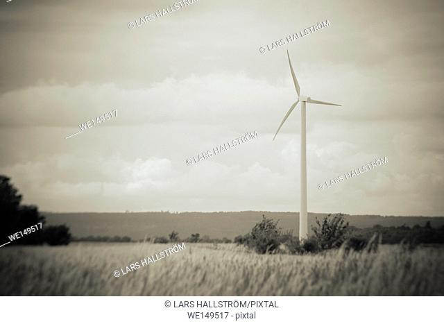 Wind power turbine and rural landscape in black and white. Sky with copy space. Concept of sustainable energy and production of electricity