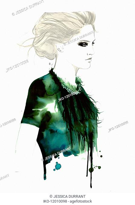 Fashion illustration of stylish woman wearing feather necklace