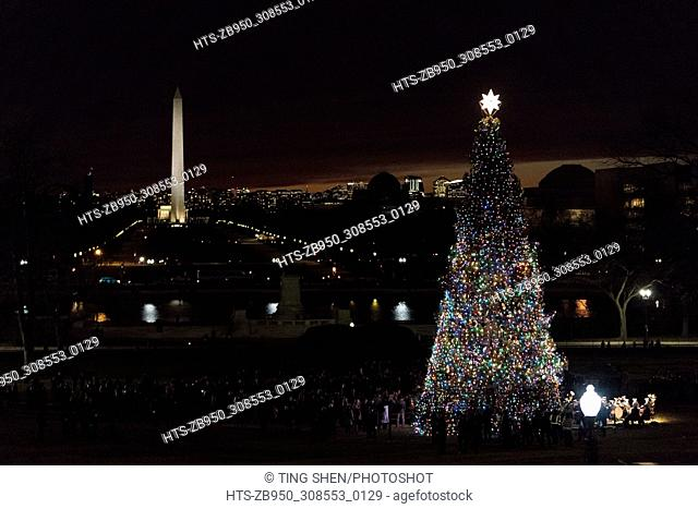 (171207) -- WASHINGTON, Dec. 7, 2017 () -- The Capitol Christmas Tree is lit on the west front lawn of the U.S. Capitol in Washington Dec. 6, 2017