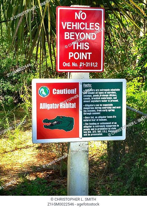 Alligator Habitat warning sign in Port Charlotte FL, USA