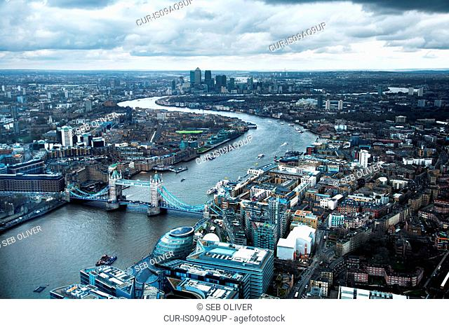 Tower Bridge, Canary Wharf, River Thames, London, United Kingdom