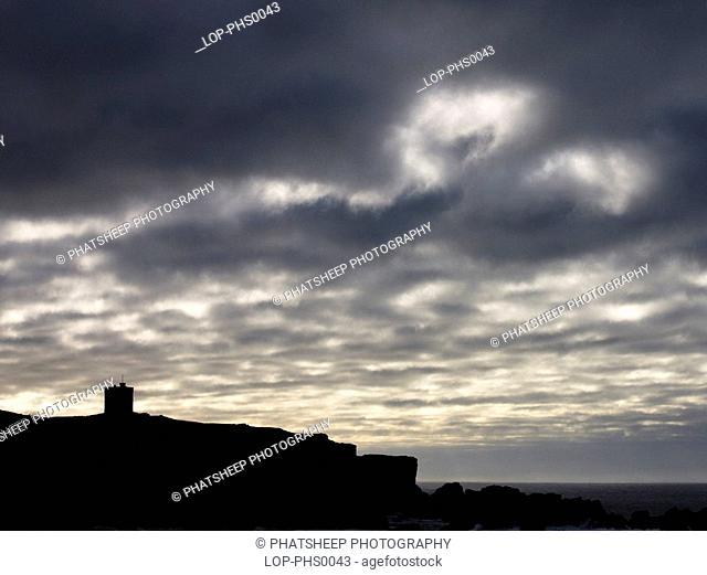 Scotland, Shetland, Walls, Watch tower at Isle of Vaila on Shetland