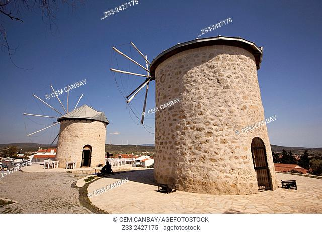 Traditional windmills in Alacati town, the historic centre of Zeytineli Koeyue, Cesme, Izmir, Aegean Coast, Turkey, Europe