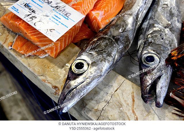 Europe, Portugal, Algarve, Faro district, Lagos, fish market, Atlantic cutlassfish and salmon