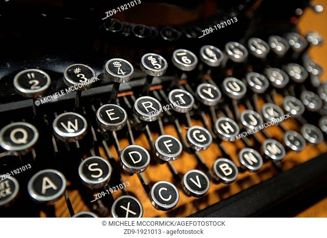 Keyboard of a vintage, manual portable typewriter, circa 1920