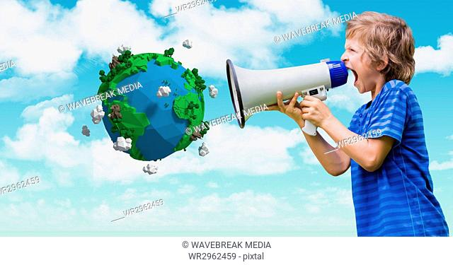 Boy shouting in megaphone by low poly earth