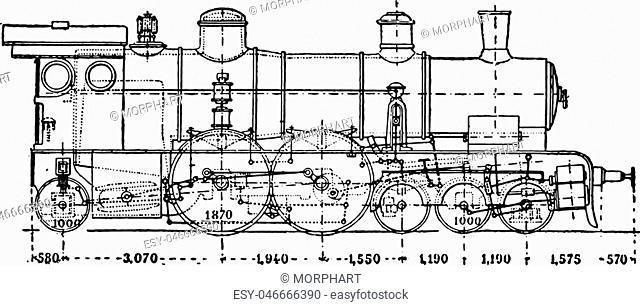 Krauss locomotive has axle auxiliary motor, vintage engraved illustration. Industrial encyclopedia E.-O. Lami - 1875