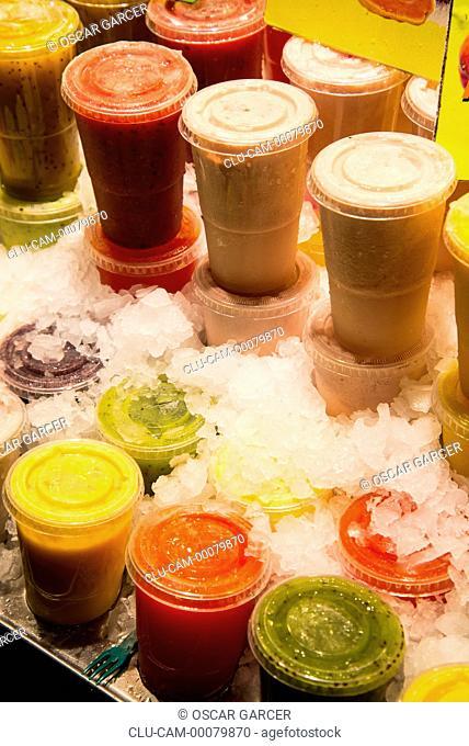 Sale of Juices, San Jose Market, La Boqueria, Barcelona, Catalonia, Spain, Western Europe