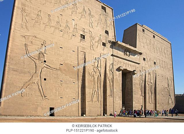 Pylon of the Temple of Edfu, dedicated to the falcon god Horus, Egypt