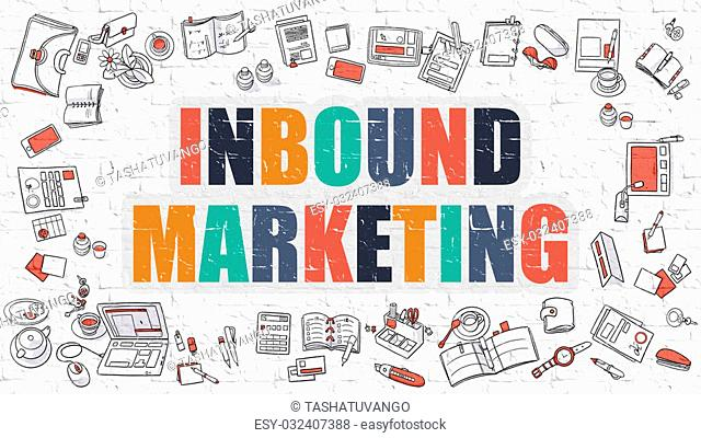 Inbound Marketing Concept. Modern Line Style Illustration. Multicolor Inbound Marketing Drawn on White Brick Wall. Doodle Icons