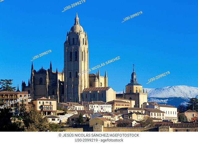 Cathedral and overview of Segovia, city declarated Historical-Artistic Site, and World Heritage by UNESCO