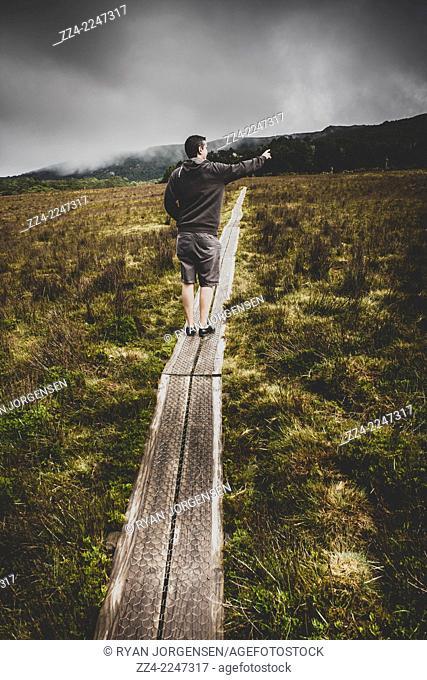 Bushwalking man trekking on inclining wood footbridge while pointing out destination directions. Cradle Mountain Explorer