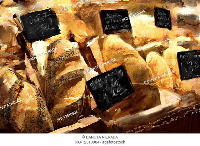 Close up of bakery shop display of different bread