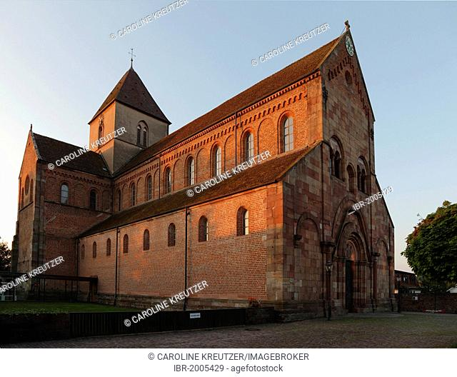Schwarzach cathedral, former Romanesque monastery church of St. Peter and Paul, Schwarzach Benedictine abbey, Rheinmuenster, Baden-Wuerttemberg, Germany, Europe