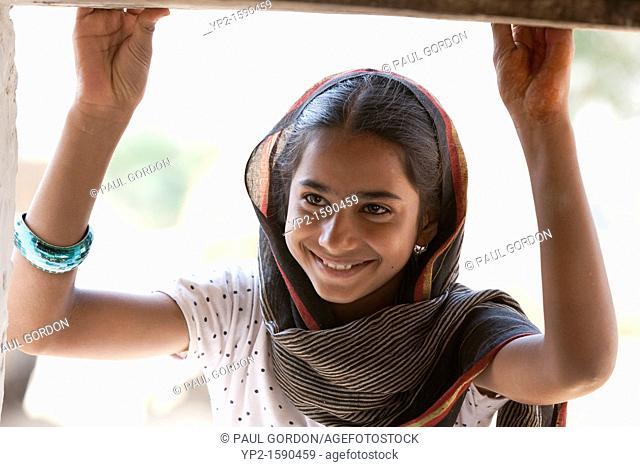 Young woman smiling - Shyampura Village, Rajasthan, India
