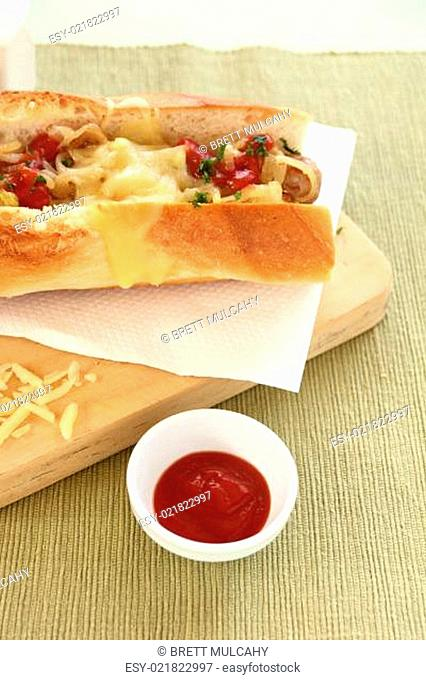 Melted Cheese Hot Dog