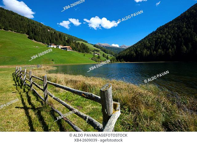 Durnholz or Valdurna, overlooking the lawns and the lake around the country, Sarentino, Sarntal valley, Trentino-Alto Adige (Südtirol), Italy