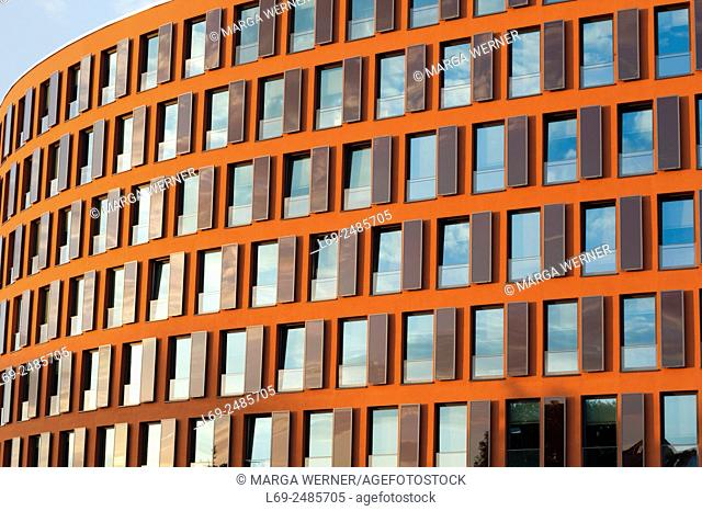 Modern Architecture at the banks of river Warnow, Hanseatic City of Rostock, Mecklenburg-Western Pomerania, Germany, Europe