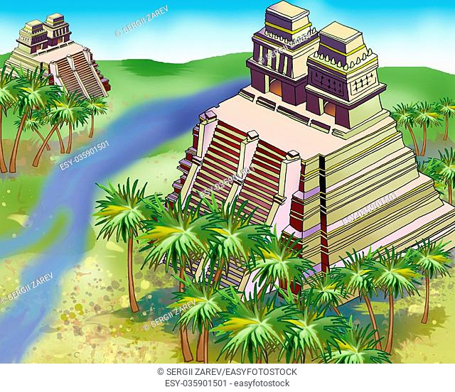 Ancient Mayan Pyramids in a jungle. Digital Painting Background, Illustration in cartoon style character
