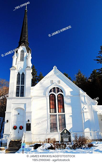 The Quechee Community Church is an elegant New England classic styled church