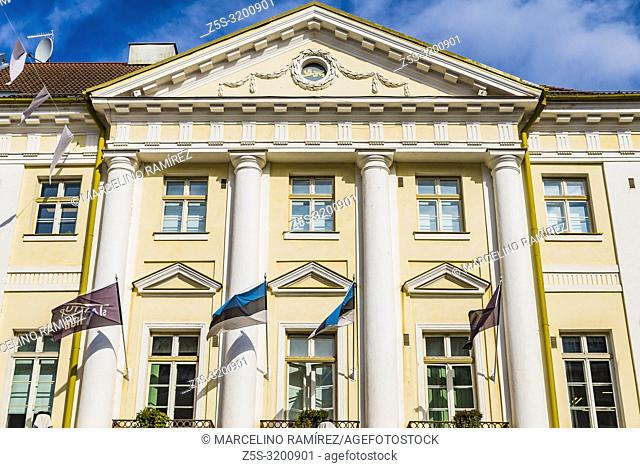 Neoclassical facades of buildings in the Town Hall Square. Tartu, Tartu County, Estonia, Baltic states, Europe