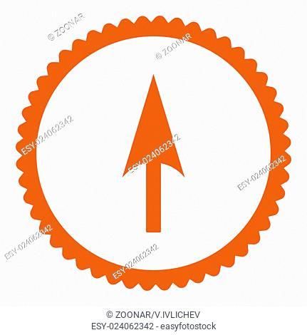 Arrow Axis Y flat orange color round stamp icon
