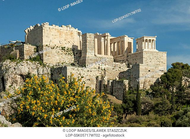 Spring afternoon at Acropolis temple complex in Athens