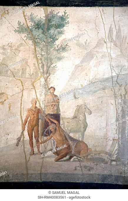 Italy, Naples, Naples Museum, from Pompeii, House of Jason IX 5, 18, Heracles and Centaur