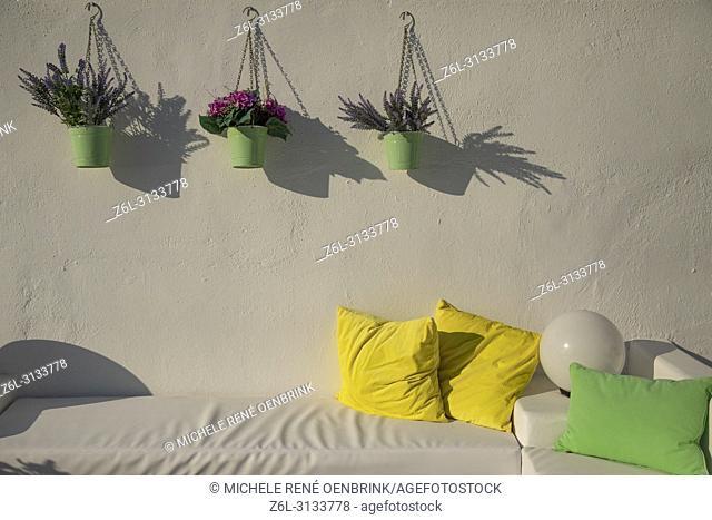 Classic architecture and design in Kamari Santorini Greece