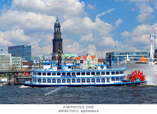 St. Michaelis Church with paddlesteamer in foreground, Germany, Hamburg