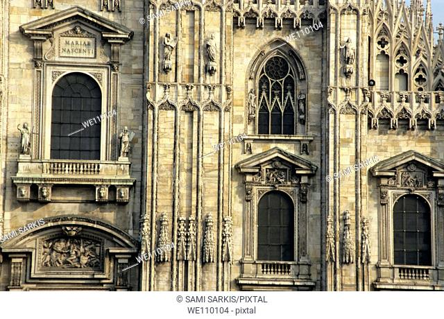 Intricate sculptures on the Milan Cathedral, Milan, Italy
