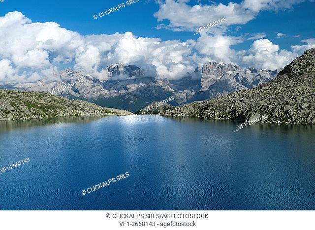 Madonna di Campiglio, Trentino, Italy. The Serodoli lake with the Brenta mountain group