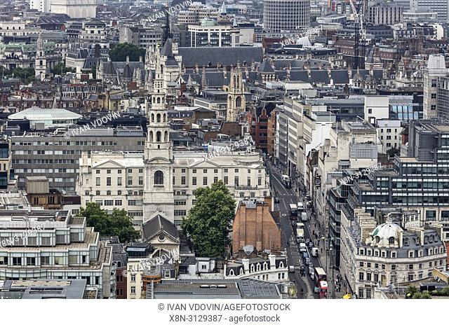 St Bride's Church, Fleet st, Cityscape from the gallery of St Paul's Cathedral, London, England, UK