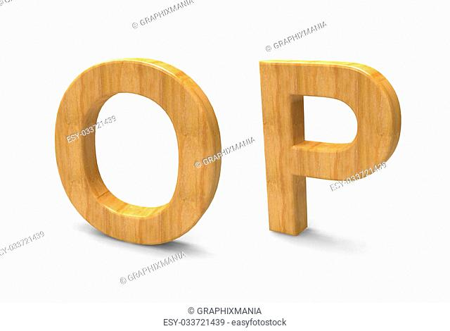 Wood font isolated on white background
