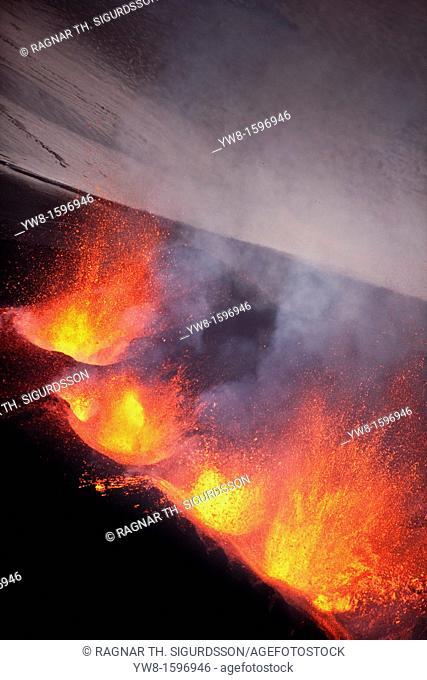 Lava fountains-Volcano eruption at Fimmvorduhals, a ridge between Eyjafjallajokull glacier, and Myrdalsjokull, Iceland 2010