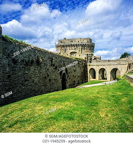 Moat of Chateau de Dinan castle and keep of the Duchess Anne 14th Century Dinan Brittany France