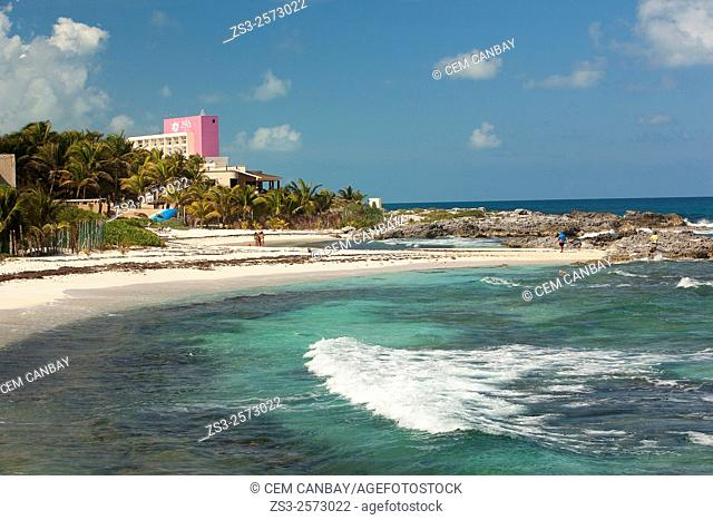 Waves in the sea and the beach scene, Isla Mujeres, Quintana Roo, Yucatan Province, Mexico, Central America