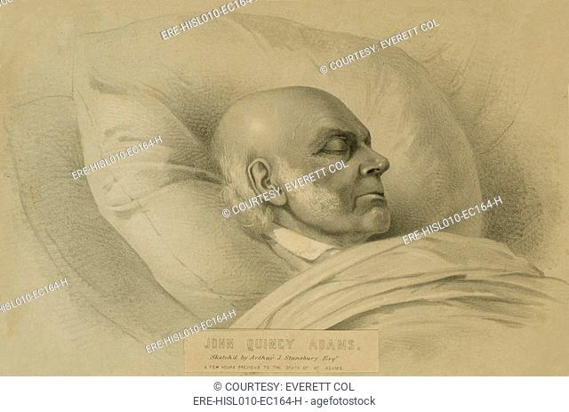 John Quincy Adams 1767-1848, a few hours previous to death as he lay unconscious in the Rotunda after suffering a stroke. February 23, 1848