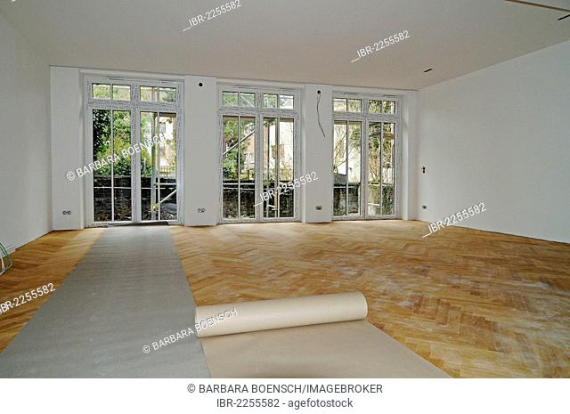 Newly laid parquet flooring, wooden floor, building renovation, Germany, Europe
