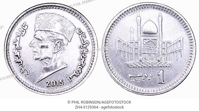 Pakistan 1 Rupee coin (2015) showing the head of Muhammad Ali Jinnah (1876-1948) founder of Pakistan (obverse) and Hazrat Lal Shahbaz Qalandar Mausoleum