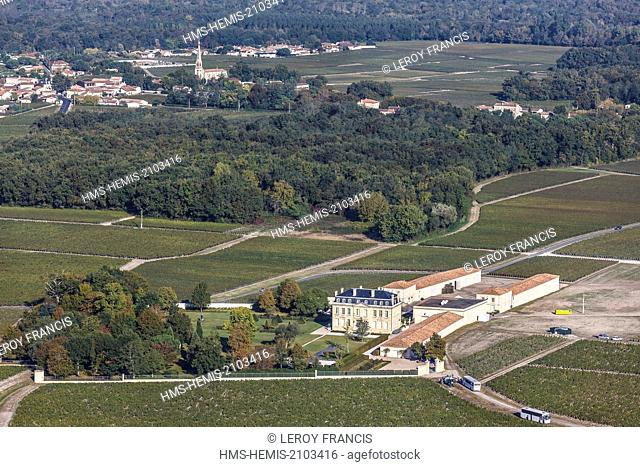 France, Gironde, Margaux, Chateau Labegorce (aerial view)