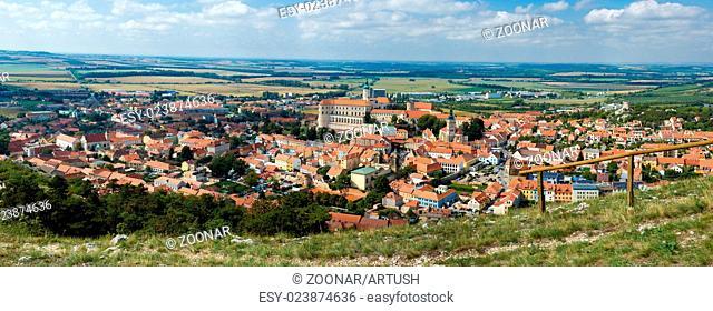 panorama of Mikulov town, South Moravia, Czech Republic